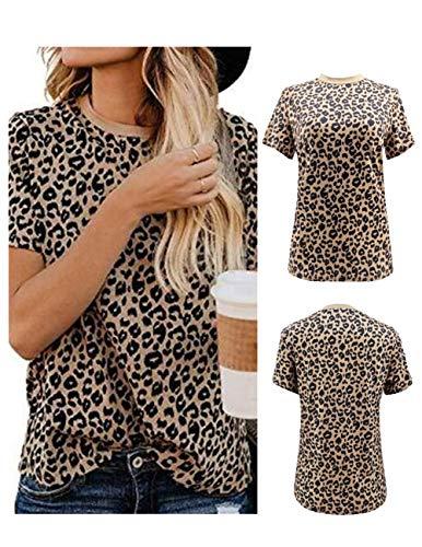 DRIBET Women's Leopard Print Round Neck Casual Loose T-Shirt Tops Basic Short Sleeve Soft Tee Shirt Out Blouse (Leopard 01, M)