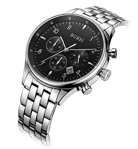 Black Dial Silver Bracelet (BUREI Men Chronograph Sports Watch Big Face Stopwatch with Black Dial and Stainless Steel Bracelet (Silver))