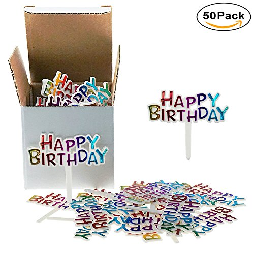 Colourful Mini Plastic Happy Birthday Cupcake Cake Toppers Picks For Party Dessert Table Decorations Supplies, 50 Counts by - Cupcake Birthday