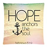 Christian Religious Bible Verse Inspirational Quotes 18×18 cusion case, Hebrews 6:19 Hope anchor the soul Throw Cushion Case Pillowcase Pillow Cover with Zipper One side – Size 18×18 inch