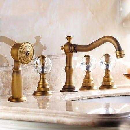 BXU-BG 蛇口卸売小売高級アンティーク真鍮のデッキの取付け浴室浴槽の蛇口クリスタル滝バニティミキサータップW/ハンドシャワー、イエロー