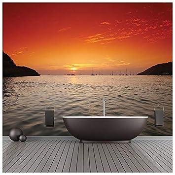 azutura Orange Sonnenuntergang Fototapete Thailand Ozean Tapete ...