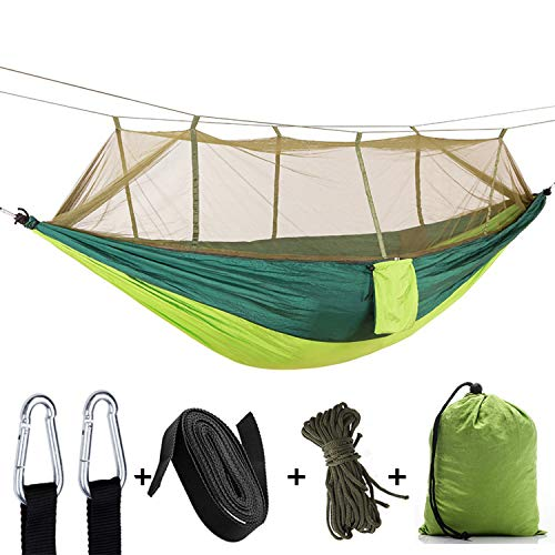 Single & Double Camping Hammock with Mosquito Bug Net - Easy Assembly Parachute Nylon Hammock with 10ft Hammock Tree Straps & Carabiners for Camping, Backpacking, Survival, Travel