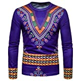 kaifongfu Men African 13D Print Long Sleeve Round Neck Top Shirt Dark BlueXL