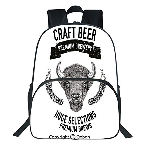 Oobon Kids Toddler School Waterproof 3D Cartoon Backpack, Hand Drawn Beer Emblem with Buffalo Ox Bull Premium Brewery Oats Selections, Fits 14 Inch Laptop (Best Beer Selection Dc)