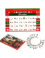 ZHUOFU DIY Christmas Advent Calendar Bracelet Necklace set with 22 Charms Fashion Jewelry Countdown for Kids