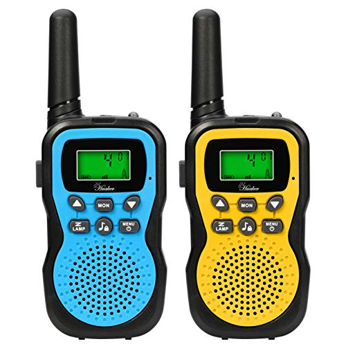 Huaker Kids Walkie Talkies,2 Pack 22 Channels 2 Way Radio Toy with Flashlight and LCD Screen ,3 Miles Range Walkie Talkies for Kids Outside Adventures, Camping, Hiking