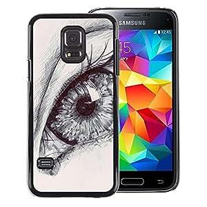 Red-Dwarf Colour Printing Eye Drawing Pencil Art Deep Pupil Sketch - cáscara Funda Case Caso de plástico para Samsung Galaxy S5 Mini, SM-G800, NOT S5 REGULAR!