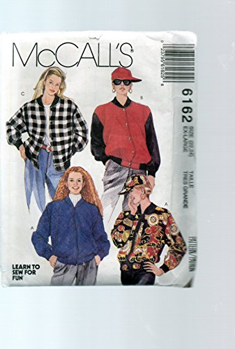 Misses Ribbed (Mccalls 6162 Sewing Pattern for Misses 22 - 24 Bomber Zip Front Ribbed Collar and Side-hem Banded Jackets)