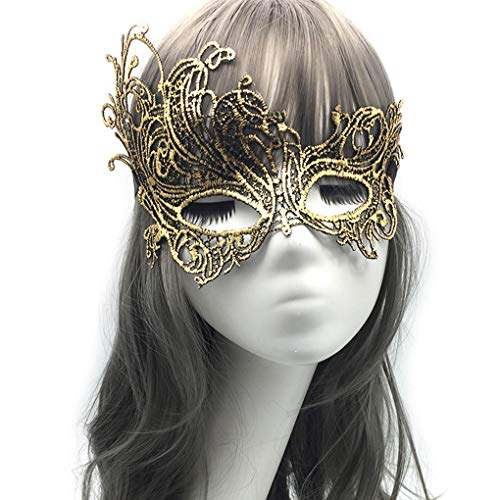 iMapo Masquerade Mask for Women, Mardi Gras Lace Masks, Cosplay Venetian Party Prom Ball Christmas Halloween Eye Lady Masks - Phoenix (Gold)