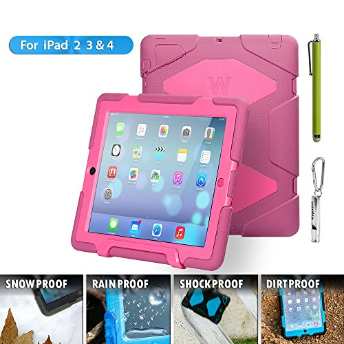 iPad Cases,iPad 2 Case,iPad 3 Case,iPad 4 Case,TRAVELLOR®[Heavy Duty] iPad Case,Three Layer Armor Defender And Full Body Protective Case Cover With Kickstand And Screen Protector for iPad 2/3/4 - Rose/Pink