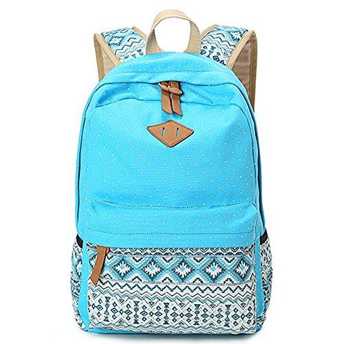 Highdas Corea Impresión Mochila Escolar Mujeres para Chicas Adolescentes Bookbags Lindo Mochilas Portátiles Vintage Azul claro