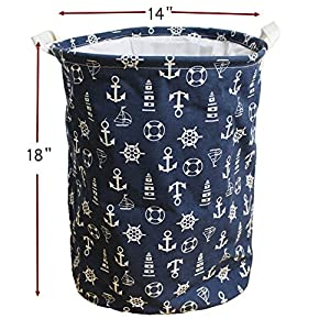 Large Laundry Hamper 18 Inches Waterproof Folding Clothes Storage Basket Toy Organizer with Handles Mediterranean Style for Bedrooms, Nursery, Closets by Orino (Navy Blue)