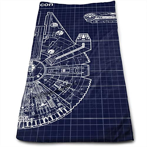 ASDGEGASFAS Star Ships Millennium Falcon Microfiber Hand Towel Water Absorbent Soft Polyester Lightweight Travel Towel,Bath Sheet for Bath Hand Face Hair Gym and Spa