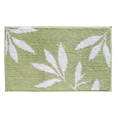 InterDesign Microfiber Leaves Bathroom Shower Accent Rug, 34 x 21, Green/White