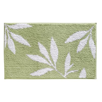 """iDesign Leaves Microfiber Polyester Bath Mat, Non-Slip Shower Accent Rug for Master, Guest, and Kids' Bathroom, Entryway, 34"""" x 21"""", Green and White - HIGH QUALITY FABRIC: Made of 100% microfiber polyester, this non-slip shower rug adds modern and chic style to your master bathroom, kitchen, kids' bathroom, guest bathroom, office, craft room, and other places in your home. The classic leaf design looks great with any decor STURDY: Stays in place throughout the day with a non-skid, no-slip backing EASY MAINTENANCE: This bathroom rug is machine washable and hangs dry for easy cleaning - bathroom-linens, bathroom, bath-mats - 51wMkLn0SpL. SS400  -"""