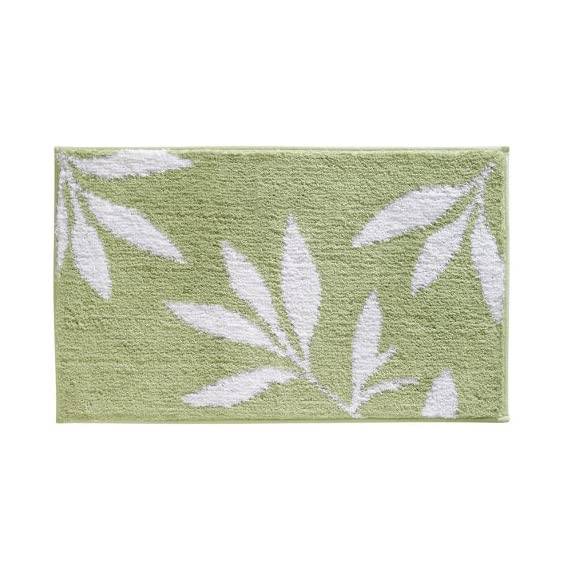 """iDesign Leaves Microfiber Polyester Bath Mat, Non-Slip Shower Accent Rug for Master, Guest, and Kids' Bathroom, Entryway, 34"""" x 21"""", Green and White - HIGH QUALITY FABRIC: Made of 100% microfiber polyester, this non-slip shower rug adds modern and chic style to your master bathroom, kitchen, kids' bathroom, guest bathroom, office, craft room, and other places in your home. The classic leaf design looks great with any decor STURDY: Stays in place throughout the day with a non-skid, no-slip backing EASY MAINTENANCE: This bathroom rug is machine washable and hangs dry for easy cleaning - bathroom-linens, bathroom, bath-mats - 51wMkLn0SpL. SS570  -"""