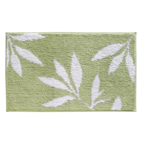 InterDesign Microfiber Leaves Bathroom Shower Accent Rug, 34 x 21, Green/White