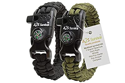 A2S Paracord Bracelet K2-Peak Series - High Quality Survival Gear Kit with Embedded Compass, Fire Starter, Emergency Knife & Whistle - Pack of 2 - Quick Release Slimbuckle Design - Lightweight & Durable - 100% Money Back Guarantee