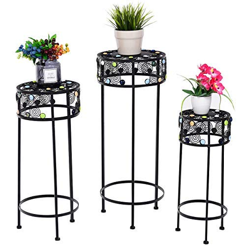 Giantex Set of 3 Plant Stand Metal and Ceramic Indoor Outdoor Flower Pot Rack Stand Set 28-Inch, 24-Inch, 22-Inch (Round)