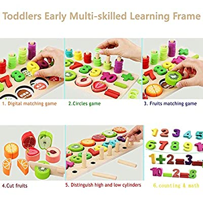YYoomi Wooden Blocks Puzzle Board Set with Cutting Fruits/ Number Counting/ Colors Stacking/ Shape Sorting for Kids & Toddlers & Preschoolers Gift Early Education Toy: Toys & Games