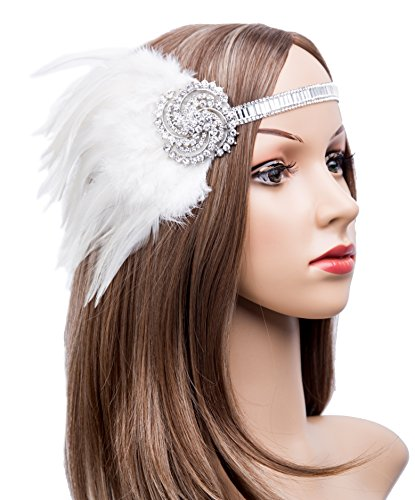 White 1920s Costumes (Kathyclassic 1920s Great Gatsby Flapper Headpiece Art Deco Feather Headband For Women (White-1))