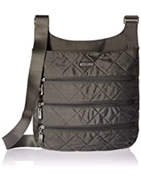 Baggallini Big Zipper Crossbody Bag Lightweight Quilted Nylon Organizational Pockets, Pewterquilt, One Size (Model:QLZ187-Pewter Quilt)