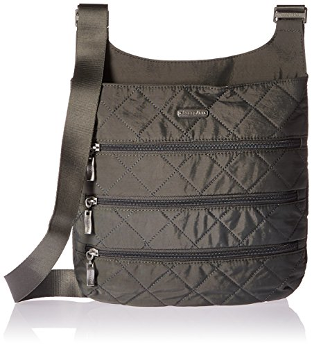 Baggallini Quilted Big Zipper Bagg with Rfid, Pewterquilt