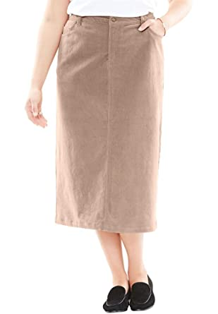 33ac36d5d8f Woman Within Plus Size Corduroy Skirt at Amazon Women s Clothing store
