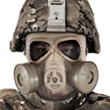 paintball gun high fps - BIENNA Airsoft Tactical Paintball Protective Full Face Eye Protection Skull Dummy Toxic Gas Mask With 2 Filter Fans and Adjustable Strap for BB Gun CS Cosplay Costume Halloween Masquerade-Khaki