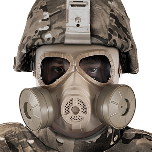 Airsoft Gas Paintball Gun (BIENNA Airsoft Tactical Paintball Protective Full Face Eye Protection Skull Dummy Toxic Gas Mask With 2 Filter Fans and Adjustable Strap for BB Gun CS Cosplay Costume Halloween Masquerade-Khaki)