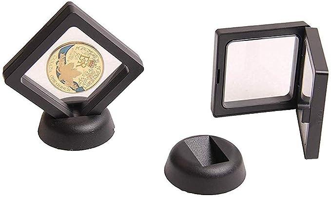 TDlmfRDi 2,75 x 2,75 x 0,75 Pulgadas de Pantalla Coin Box Set De 10 3D Marco Flotante del Soporte de exhibici/ón con los Soportes para el desaf/ío Monedas AA medallones Negro
