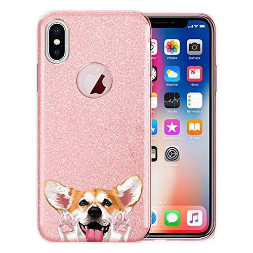 FINCIBO Case Compatible with Apple iPhone X XS 5.8 inch, Shiny Sparkling Pink Bling Glitter TPU Silicone Protector Cover Case for iPhone X XS - Red Pembroke Welsh Corgi - Pembroke Ornaments