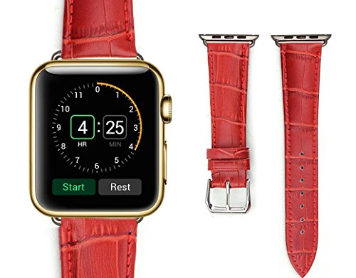 LyStar for Apple Watch Bands 42mm, Crocodile Pattern Leather iWatch Band Strap Bracelet Replacement Wristband for Apple Watch Series 3 Series 2 Series 1 Nike+ Sport and Edition 42MM Red by LyStar