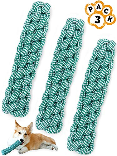 Rope Dog Toy Stick Pack - Durable Thick Dog Rope Knot Toys 3-Piece Set for Puppies Medium Large Dogs Play Fetch, Tug of War Dental Pet Toy For Teeth Cleaning Natural Cotton Chewers 8