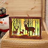 H+K+L Wooden Photo Frames 3D Led Table Night Light with Battery Operated Decoration Lamp On/Off Switch (B)