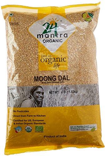(Organic Moong Dal - USDA Certified Organic - European Union Certified Organic - Pesticides Free - Adulteration Free - Sodium Free - 4 Lbs - 24 Mantra Organic)