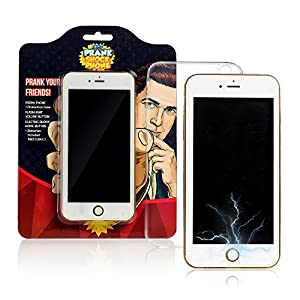 Shock Phone Funny Prank Gag - Fake Shocking Cell Phone - Make Friends Laugh with Practical Joke Dummy Shocker Like 6s Plus - Includes Real Flashlight & Trick Protection Case