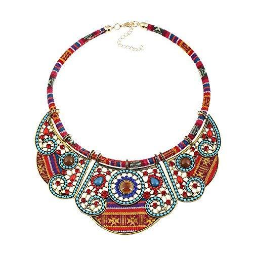 MosBug Woman Vintage Bohemian Ethnic Necklace Collar Statement Jewelry Boho Turquoise Beads Crystal ...
