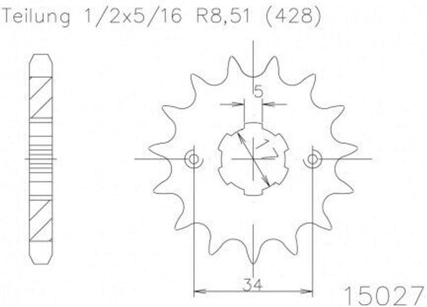 Ritzel 16 Zähne Stahl 428er Teilung 1 2x5 16 Auto