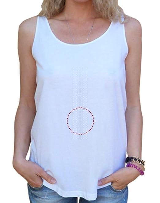 latostadora - Camiseta Guitarra Minimalista para Mujer Blanco S