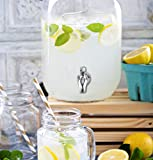 One Gallon Glass Mason Jar Beverage Dispenser w/ Stainless Steel Spigot, Retro Yorkshire Style Jar, Clear Color
