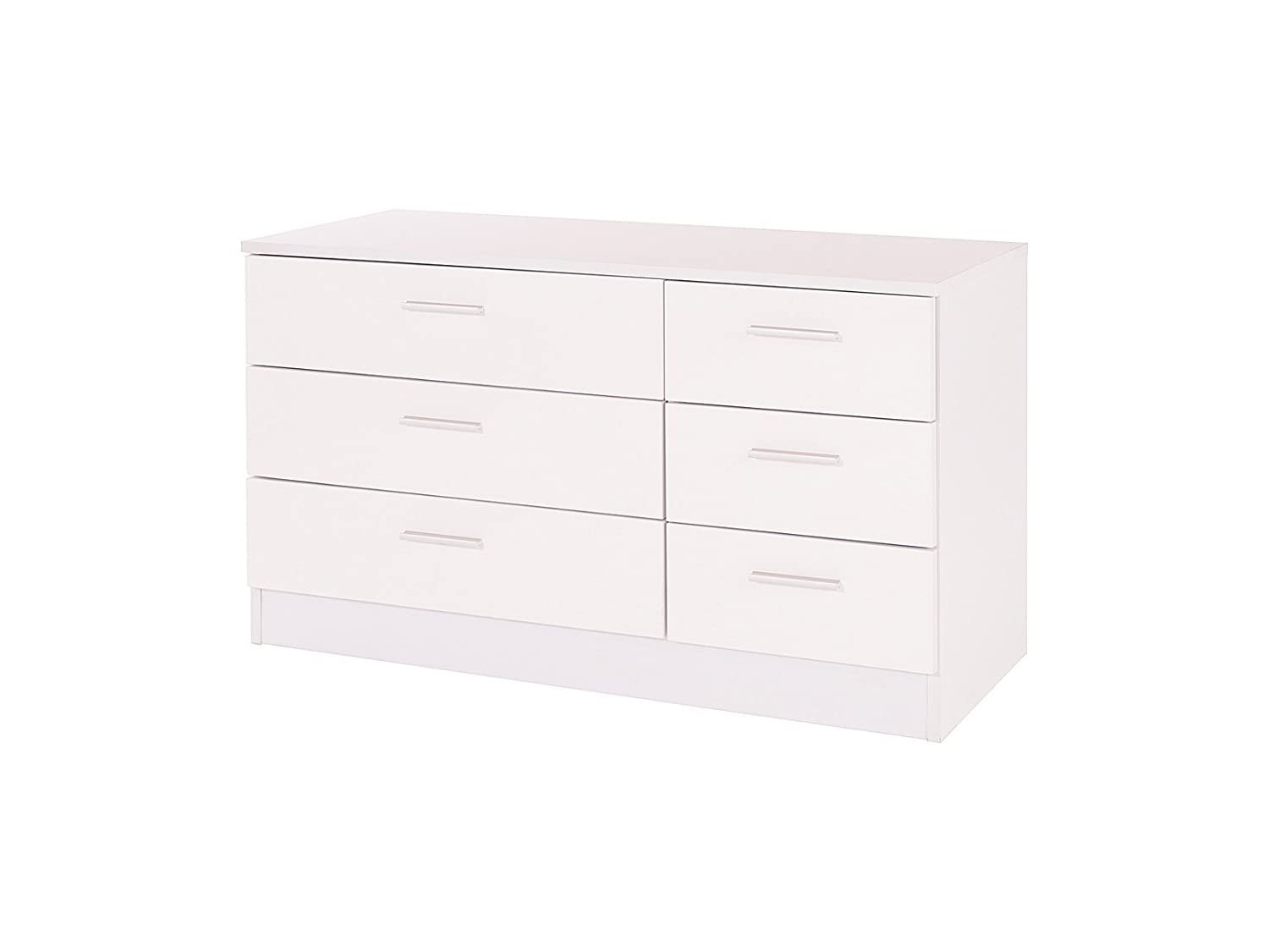 Home Source High Gloss 6 Drawer Chest of Drawers (3+3) - Ottawa Caspian SUPREME Range (Black)