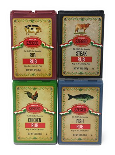 - Szeged 4 Pack Combo, Steak, Chicken, Rib and Fish Rub/Gourmet Rub (4-5 Oz. Tins)