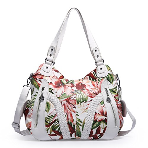 (2018 Upgrade) Angel Kiss Women Top Handle Satchel Handbags Shoulder Bag Messenger Tote Washed Leather Purses Bag (White-Flower) …