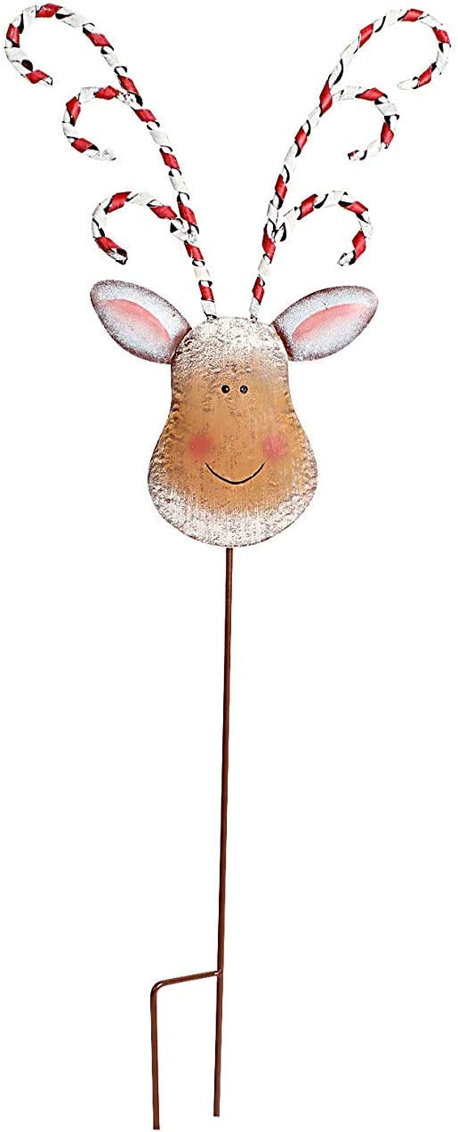 "ACCENTHOME Metal Christmas Holiday Magic Reindeer Stake Rustic Yard Stake 32"" H Christmas Yard Decoration Garden Stake (32"" Tall)"