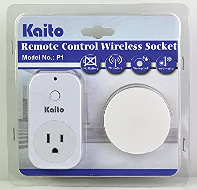 Kaito P1 Wireless Wall Electrical Outlet Remote Switch (1 Outlet Receiver/Adapter + 1 Battery-free Transmitter/Switch)