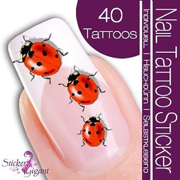 Nail adhesivo-Gigant tatuaje de adhesivo diseño de mariquita ...