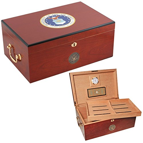 $99.99 cuban crafters humidor Cuban Crafters U.S. Air Force American Emblems Cherry Humidor, 120 count 2019