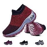 Women's Walking Shoes Sock Sneakers - Mesh Slip On Air Cushion Lady Girls Comfort Nursing Easy Shoes Platform Loafers